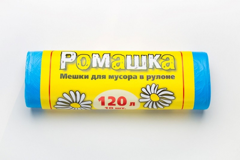 Пакет для мусора ПНД 120 л РОМАШКА синие