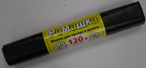 Пакет для мусора ПНД 120 л РОМАШКА черные