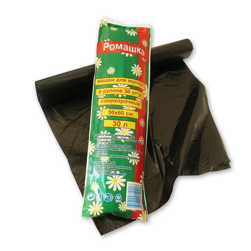 Пакет для мусора ПНД 30 л РОМАШКА черные сверхпрочные