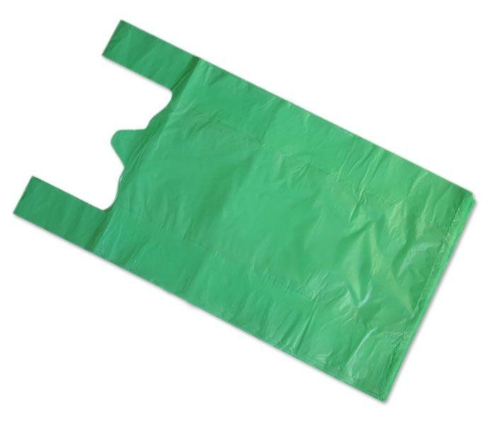Пакет «Майка» 42+20х75 мм (15 мкм) ПНД зелёная