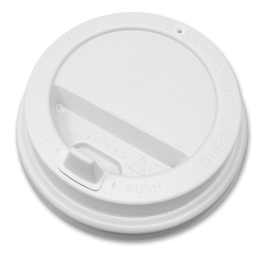 Крышка пластиковая 90 мм белая с клапаном для стакана 300/400 мл