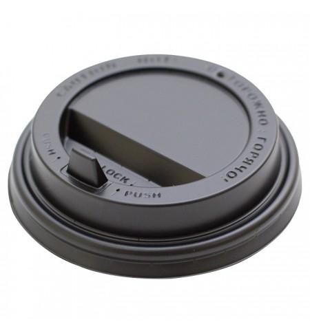 Крышка пластиковая 80 мм черная с клапаном для стакана 200/250 мл