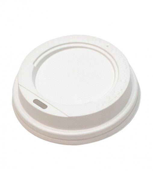 Крышка пластиковая 80 мм белая c питейником для стакана 200/250 мл