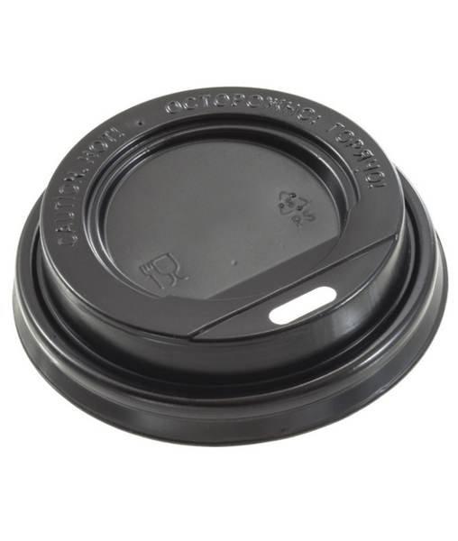 Крышка пластиковая 80 мм черная c питейником для стакана 200/250 мл