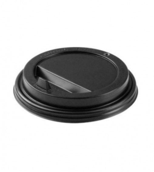 Крышка пластиковая 90 мм черная с клапаном для стакана 300/400 мл