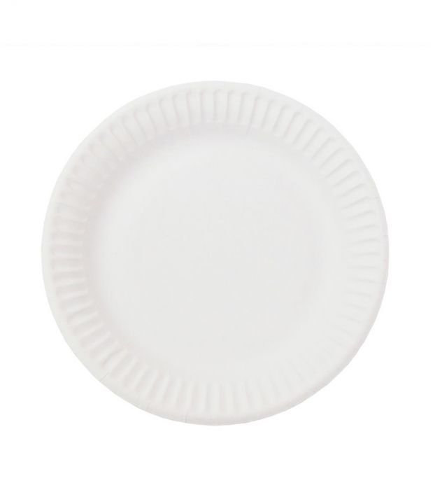 Тарелка одноразовая белая мелованная d=200 мм