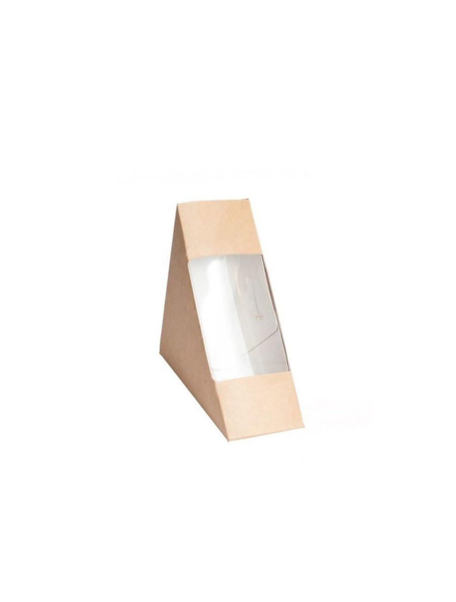 Контейнер бумажный с окном для бутерброда крафт 130*130*60 мм