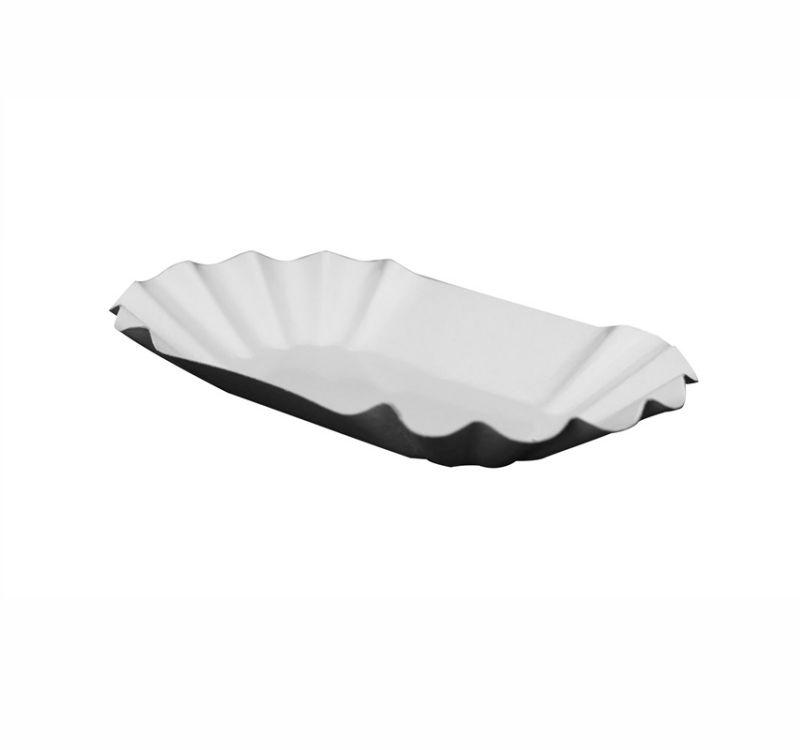 Тарелка одноразовая овальная белая ламинированная 105*175*30 мм