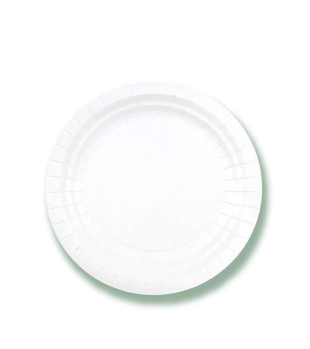 Тарелка одноразовая белая, пищевой лак d=180 мм