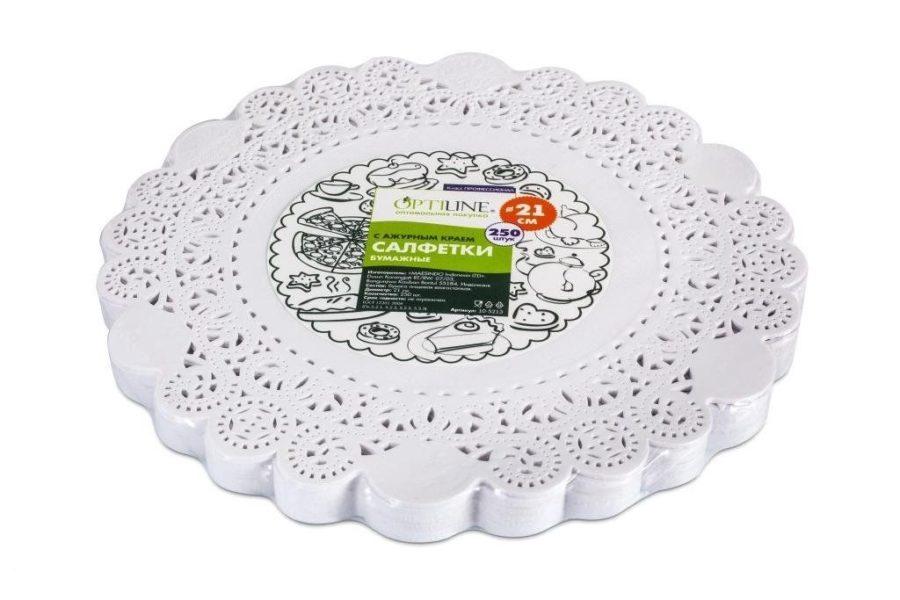 Ажурные салфетки OptiLine для торта, белые, бумажные, d=21 см, 250 шт