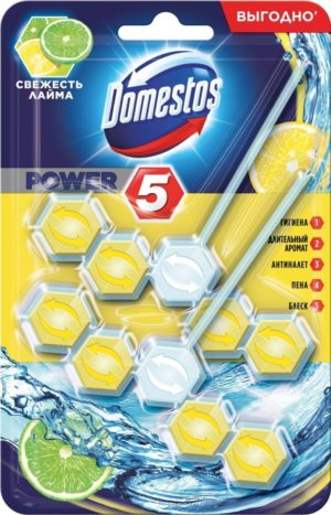 Блок для унитаза Domestos Power 5 Свежесть Лайма, 55 гр