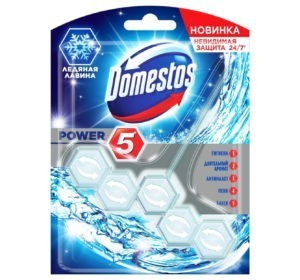Блок для унитаза Domestos Power 5 Ледяная лавина, 55 гр